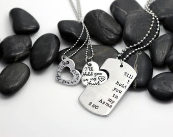 I'll Hold You In My Heart Till I Hold You In My Arms | Military Support | Deployment | Long Distance Dog Tag Set