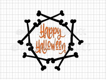 Happy Halloween - Bone Wreath SVG -  Cutting File - Cricut - Cameo