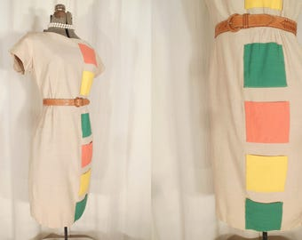 Vintage 1950s Dress - Dali's Muse - 50s Abstract Art Wiggle Day Dress