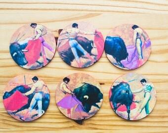 Bull Fighting Coasters (Set of 6)