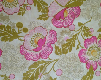 CLEARANCE Fresh Poppies Fuchsia Fabric Amy Butler  Midwest Modern 1 Yard Cotton Premium Cotton Pink Green