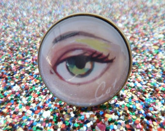 Big Eye, strange adjustable Glass Cabochon Ring