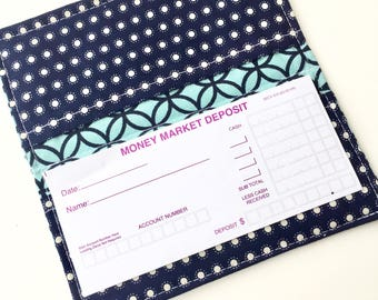 Fabric Checkbook Cover, Checkbook Holder, Checkbook Wallet, Coupon Holder, Organizer, Cute Checkbook Pouch, Blue Teal Turquoise Polka Dots