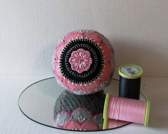 Handmade Pincushion Felted Wool Pink, Black and Gray Mandala Flower on a Gray Pincushion