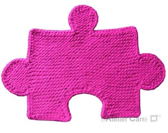 Placemat puzzle built-in knit, dark pink