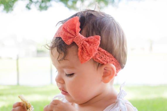 Orange Headband, Vey Soft Headband, Headband for Newborn, Bow Headband, Baby Shower Gift, Soft Lace headband, Sweet Headband, New Girl Gift
