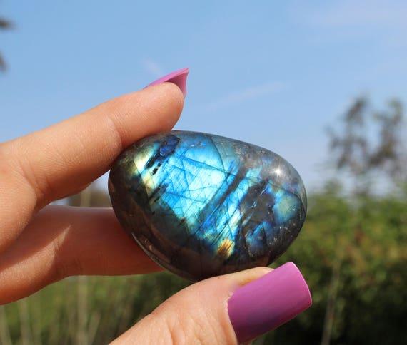 Labradorite - labradorite palm stone - rainbow crystal - reiki stone - massage stone - meditation stone