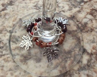 Wine Glass Markers Fall Leaves