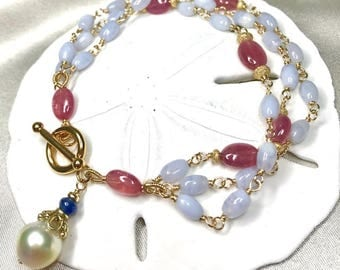 South Sea Pearl with Blue Lace Agate, Pink Sapphire Multi-Strand Bracelet