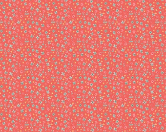 NEW! Pre-Order Sale, Forget Me Not Coral, Fabric Yard, Hill & Dale Collection 2017, by Ana Davis For Blend Fabrics, 113.113.04.2