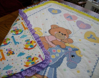 """Completed & Quilted by hand Bucilla Xstitch Baby Quilt """"ROCK-A-BYE TEDDY"""""""