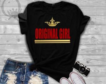 Orginal Girl Crown print Slogan  T Shirt Women Unisex Tee.  Bella & Canvas