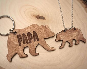 Engraved Father Daughter Key Chain Necklace Set | Papa Bear and Cub
