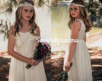 10T-14T, Champagne Flower Girl, Junior Tulle Lace Dress, Tea Length Flower Girl Dress, Cream Tulle Tutu Dress, Cotton Crochet Tulle Gown