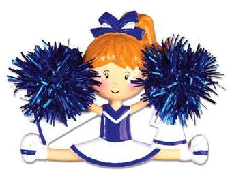 Cheerleader Christmas Ornament / Cheerleading Ornament Blue and White / Personalized Christmas Ornament / Cheer Team Ornament
