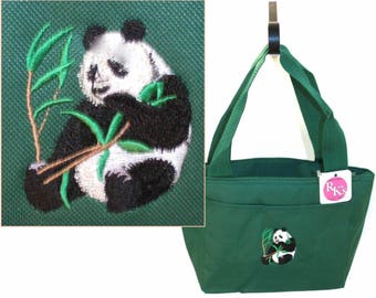 Panda Bear & Bamboo Stalk Lunch Pail Insulated Cooler Bag Custom Embroidered