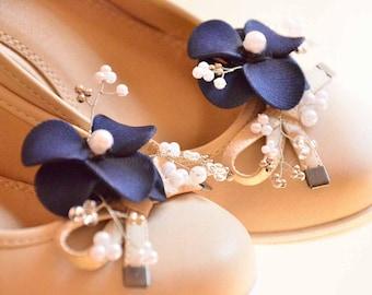 Navy blue shoe clips Bridesmaid shoe clips Navy blue shoe clips Bridal flower for shoe Shoe clips Bridesmaid gift