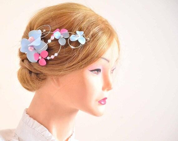 pince cheveux bleu et rose p le p le bleu floral clip bibi. Black Bedroom Furniture Sets. Home Design Ideas