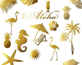 Gold foil summer clipart, flamingos clip art, gold foil pineapple, palm tree leaves, sea horse shell star, aloha hawaii, gold coctail,