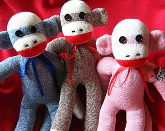 "Personalized Sock Monkey Dolls 18"" - Heart Tattoo - Hand NOT MACHINE embroidered - Rockford Red Heel Socks"