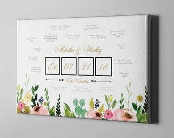 SALE 50% Off Canvas Guest Book, Greenery Wedding Guest Book Alternative, Boho Flowers Guest Book, Anniversary Gift Idea for Couple - CGB120
