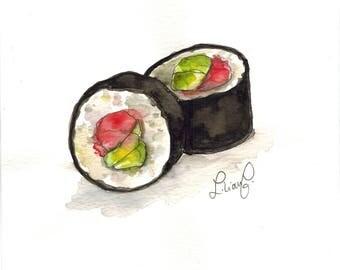Sushi! (original watercolor)