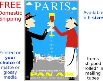 Pan Am Paris - Vintage Airline Travel Poster (190390299)