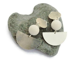 White earrings, Clip on earrings, Geometric, Modern Earrings, Half-Moon earrings, Jade earring, Bridal jewelry, Silver earring, Gift for her