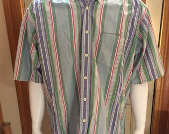Dockers vertical striped short sleeved button up big medium multicolored 100% cotton preppy