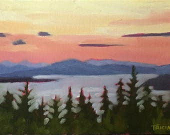 Oil Painting, Purple Mountain Majesties, Rangeley, Maine