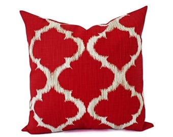 15% OFF SALE Deep Red Pillow Covers - Red and Grey Throw Pillows - Pillow Cover - Red Couch Pillow - Decorative Pillow Covers - Quatrefoil P