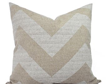 15% OFF SALE Two Chevron Throw Pillow Covers - Beige and White Pillow Covers - Burlap Couch Pillows - Cream and White Pillow Covers