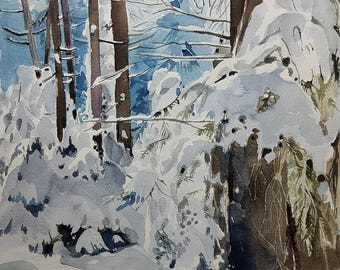 Landscape Painting, Landscape Art, Landscape Watercolor, Winter Landscape, Wall Art