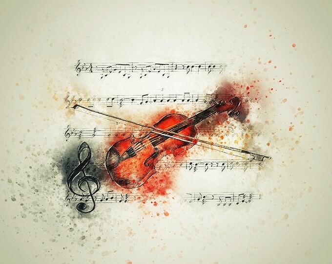 violin watercolor art print