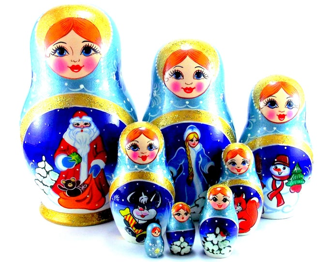 Christmas Nesting Dolls 8 pcs Russian Matryoshka doll Traditional babushka doll Russian stacking dolls for kids Wooden russian doll New Year