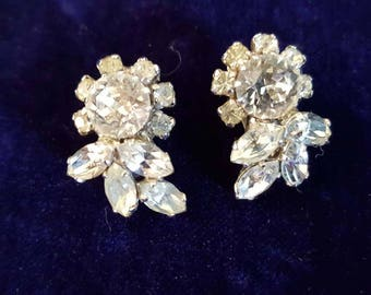 Signed Sherman Jewelry / Signed Sherman earrings  / Swarovski Crystal Jewelry / jewellery /earrings/ jewelry/
