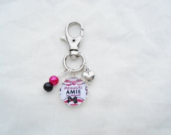Cabochon best friend of the world bag charm