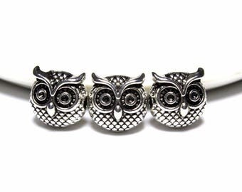 Charms Owl Head Spacers Beads, 10mm Spacer Beads For Jewelry Making