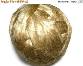 SALE Royal Natural Golden Muga Silk Roving,1 oz Gold