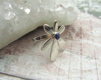 Lapis Lazuli Daisy Gemstone Ring - 925 Sterling Silver Ring Natural - 6 Petal Flower Blue