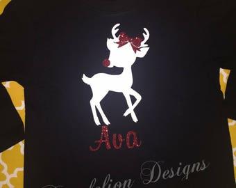 Girl's Christmas Shirt Custom Name Reindeer Glitter Bow Sparkle Cute Deer Bodysuit Long Sleeves Short Sleeves