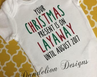 Pregnancy Announcement Christmas Bodysuit Christmas Present Dad Grandparents New Baby Bug Brother Big Sister