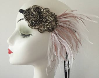 Ostrich Feather Fascinator Hair Clip Wedding Stage Party Costume Headpiece