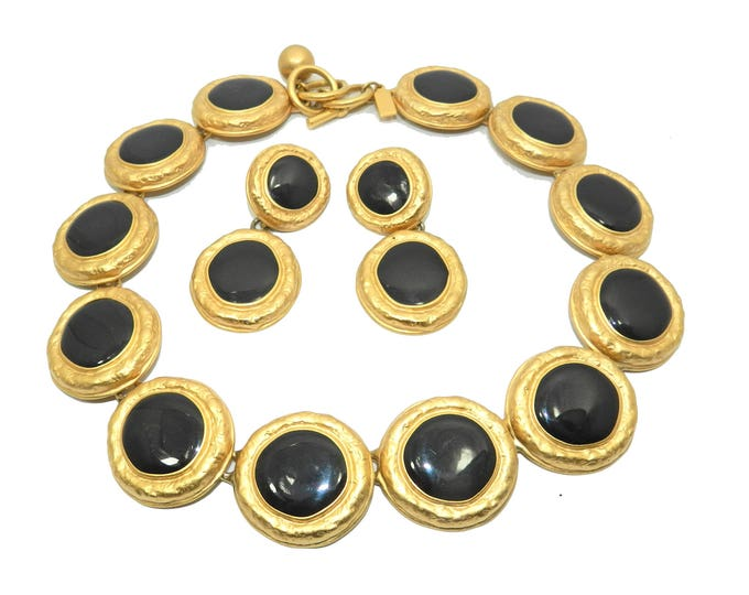 Signed Talbot Necklace Earrings Set, Vintage Talbot Jewelry Jewellery, Black Gold Statement Runway Jewelry, 1980s Retro Runway, Gift