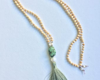 Antiqued turquoise nugget Tassel necklace