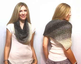 Hand Knit Gray Black White Gradient Striped Asymmetrical Shawl Triangle Scarf, Cozy Soft Knitted Ombre Wrap in Neutral Grays Ivory Charcoal