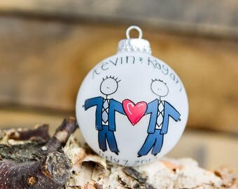 Gay/lesbian bride/groom wedding ornament - personalized for free