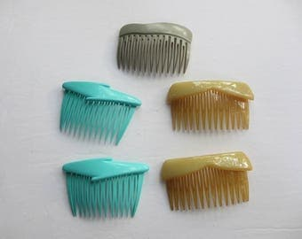 Retro 1980s 1990s New Wave Plastic Hair Combs MAde In France Goody Lightning Bolts