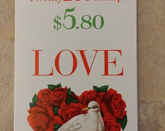 20 Unused Love Dove in Roses Heart Stamps 1994