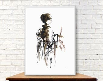 Geisha, Japanese girl, Japanese Beauty, Watercolor painting, Minimalist artwork, Sumi-e, Ink painting, Oriental girl, Maiko, Tokyo